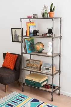 Heritage Bookshelf - $299 Seems like a good alternative to similar more expensive industrial shelves. Could work well in the living room.