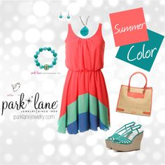 Summer color, created by parklanejewelry on Polyvore  Park Lane Jewelry featured: Cabo earrings, St. Thomas necklace, Turquoise Treasure bracelet, & Amour ring  Get this bling!   Visit www.jennsblingthing.com