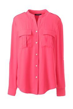 eb2c60453b494 Women s Plus Size Roll Sleeve Military Shirt Popped Collar