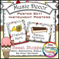 Looking for a way to spruce up your room this year? Look no further! The SWEET SHOPPE collection is for you!  This set provides you with posters for instruments in the woodwind, brass, percussion, and  string families as well as Orff, African, Chinese, and Indonesian.