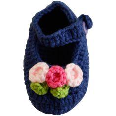 Zapatos Tejidos Azul Marino con Flores Mia Collection - Bebitos $166