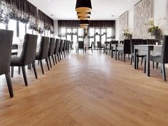 Natural wood floors in commercial areas