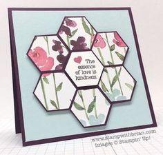 Tarjetas Stampin Up, Stampin Up Cards, Paper Cards, Diy Cards, Hexagon Cards, Hexagon Quilt, Hexagon Patchwork, Punch Art, Love Stamps