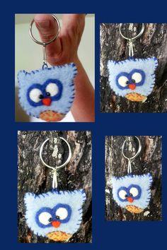 Needle felted Owl Key chain Keychain/ Key Fob by ItsAFeltWorld, $8.00