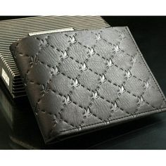 quality design 5a757 b7e37 Solid Check Pattern Cow Leather Men Wallet