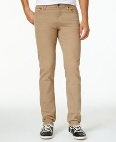William Rast Men's Slim-Fit Straight-Leg Dean Twill Pants  - Tan/Beige 36x32