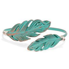 Antique Turquoise Feather Bangle Bracelet