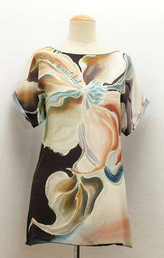 Top / tunic - ONE-OF-A-KIND - Hand Painted Silk front & black back – art wear - elegant and modern style