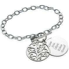 Show off those in your family who matter most with our beautiful Filigree Tree of Life Bracelet! Family tree jewelry is very popular because of its personalized touch, and this family bracelet definitely fits the bill. Engrave the names of all your family members on a disc covered by a family tree pendant. With this family bracelet you will never feel far from your loved ones! The Filigree Tree of Life Bracelet is made out of 0.925 Sterling Silver and hangs on a Sterling Silver Link Chain.