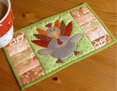 Thanksgiving Turkey Mug Rug from The Patchsmith