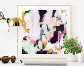 Carli, 6x6-24x24in, Abstract Fine Art Print, abstract print, green abstract, purple abstract, pink abstract