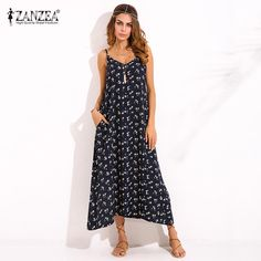 New ZANZEA Boho Womens V Neck Floral Printed Sleeveless Summer Beach Party  Spaghetti Strap Maxi Long Dress Sexy Sundress Vestidos c440e8076151