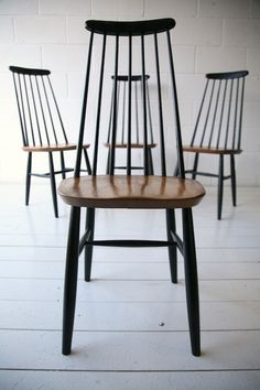 Vintage High Backed Dining Chairs by by Ilmari Tapiovaara