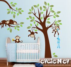 love the monkeys and trees #nursery #pinparty