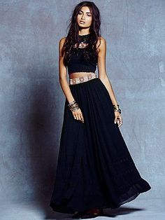Autumn Frost Set | Chiffon crop top and maxi skirt set with tonal dots and embroidery.  Top features an embroidered band with cutouts, a halter neck, and strappy open back.  Crochet lace, scalloped hem.  Skirt has matching embroidery band at the waist.  Hidden back zip and lined.