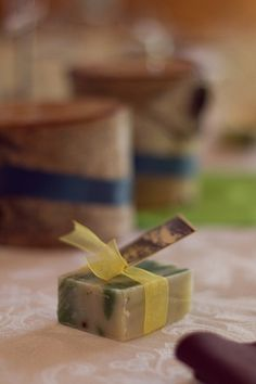 DIY Colorado Rocky Mountain Ranch Rustic Wedding | Confetti Daydreams - DIY handmade soap wedding favor adorned with material ribbon and a thank you note ♥  ♥  ♥ LIKE US ON FB: www.facebook.com/confettidaydreams  ♥  ♥  ♥ #DIY #Ranch #Rustic #WeddingTheme