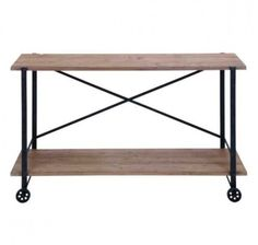 "55"" Industrial Inspired Distressed Wood Two Shelf Rolling Console Table, rustic iron casters and supports, ""X"" frame. Dimension: 55""W, 33""HMaterial: Iron, WoodC"