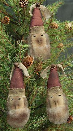 Primitive Santa Ornaments