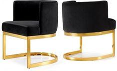 Gianna Dining Chair 718 Set of 2 Black Velvet Fabric by Meridian
