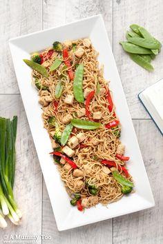 Quorn broccoli noodle stirfry (child-friendly recipe). Vegetarian.