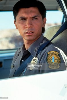 Lou Diamond Phillips as a officer in a scene from the film 'Dark Wind', 1991.