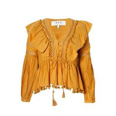 Sea NY Pom Pom Blouse Mustard ($480) ❤ liked on Polyvore featuring tops, blouses, mustard yellow blouse, mustard top, yellow blouse, yellow top and sea, new york