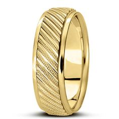 Men's 14k Yellow Gold Wedding Band with Diamond Cut Design