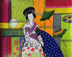 In this artwork the artist has used a traditional Chinese woman as a subject. He has done justice to their beauty by putting vibrant poster colors and different design patterns to it. Modern Art Paintings, Buy Paintings, Famous Indian Artists, Modern Art For Sale, Online Art Gallery, Folk Art, Pattern Design, Traditional Chinese, Maids