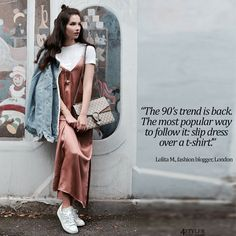 Slip Dress Over T-shirt Trend #slip #dress #over #TShirt #fashion #trend #denim #jeans #jacket #white #tie #tee #shirt #long #silc #dress #gucci #dionysys #bag #white #sneaker #fashion #blogger #fall #casual #relaxed #outfit