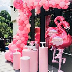 Maybe it's a girly girl's thing, but we can never have enough glam, pink, or flamingos! And we're so thrilled this party came out this way. The balloon feature certainly stopped the show in every shade of pink you could think of or imagine! Pink Flamingo Party, Flamingo Baby Shower, Flamingo Birthday, Flamingo Pool, Pink Flamingos, Pink Parties, Birthday Parties, Pool Party Decorations, Pool Party Themes