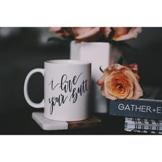 I Love Your Butt Coffee Mug Valentines Day Gift (€8,49) ❤ liked on Polyvore featuring home, kitchen & dining, drinkware, drink & barware, gold, home & living, mugs, valentines day mug, valentines day coffee mugs and white coffee mugs