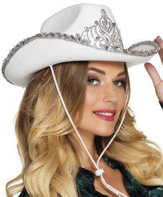 Bling bling-cowboyhattu, valkoinen