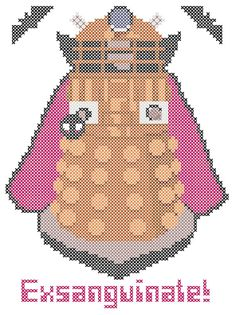 Exsanguinate!  (Just what a vampire dalek  would say :)    Vampire Dalek Counted Cross Stitch Pattern PDF by robinsdesign on Etsy.com