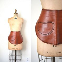 vintage APRON brown / tan leather FOLK ARTIST by capricorne, $34.00