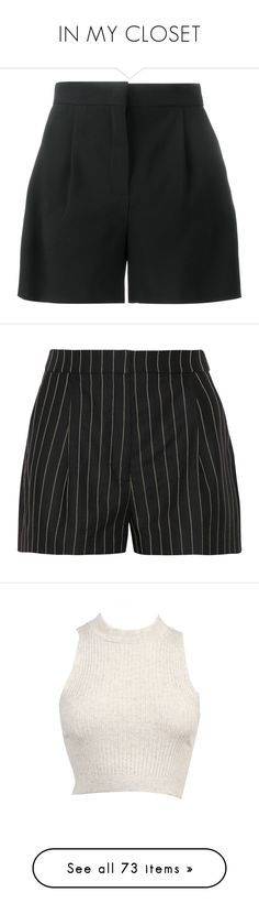 """IN MY CLOSET"" by jayda-xx ❤ liked on Polyvore featuring shorts, bottoms, short, black, alberta ferretti, tailored shorts, short shorts, pants, pleated shorts and stripe shorts"