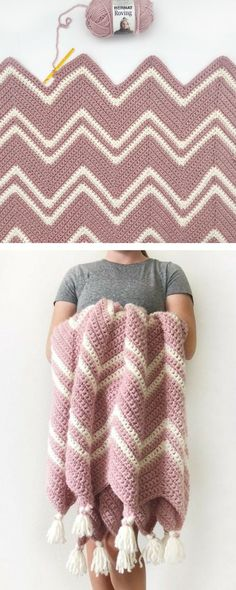 Free Pattern – Crochet Pink Chevron ThrowFree Pattern – Crochet Pink Chevron Throw Fabulous and Free Crochet Throw Patterns –Holiday Leaf Motif Throw Crochet Free Pattern… Crochet Afghans, Crochet Blanket Patterns, Knitting Patterns Free, Free Pattern, Afghan Patterns, Chevron Crochet Blankets, Chevron Crochet Patterns, Crotchet Blanket, Crochet Ripple Blanket
