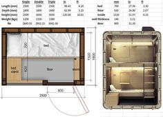 SleepBox size chart - from their webpage Sleep Box, Sleeping Pods, Hotel Floor Plan, Capsule Hotel, Micro House, Kabine, Container House Design, Dormitory, Small House Plans