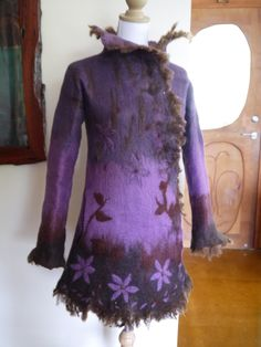 """Baboushka jacket"", inspired by all the wonderful Eastern Europe felt artists who I follow.  Pure Australian Merino Wool and coriedale raw fleece as trim. by Samantha Goodburn"