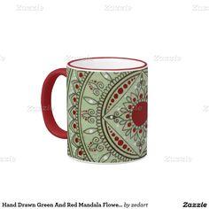 Hand Drawn Green And Red Mandala Flower Design Ringer Coffee Mug