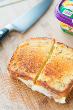 The Ultimate Grilled Cheese! The bread is spread with garlic  herb butter and grilled with chicken, brie and mozzarella inside.