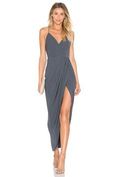Shona Joy Stellar Drape Dress in Charcoal   REVOLVE