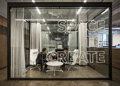 Fifty Three, Inc / Office Interior Design - Curtains - Concrete floors #architecture