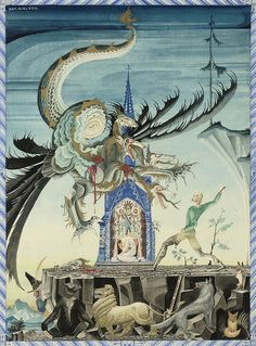 "Kay Nielsen, ""A huntsman vanquishes the seven-headed dragon"""