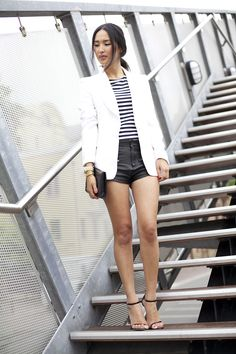 Another leather shorts look.  Cute combo with a blazer and striped T.  Would go with chunkier shoe.