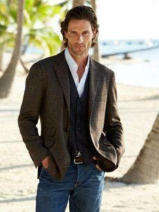 Stylist Tip for Men: How to Wear a Sport Coat   Sport coat + vest + denim http://effortlesstyle.com/stylist-tip-men-wear-sport-coat/
