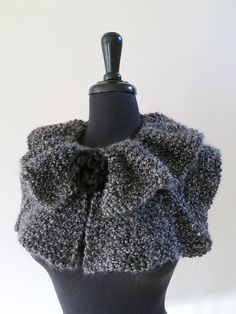 Charcoal Dark Gray Color Knitted Statement Capelet Ruffled Collar Cowl with Knitted Black Brooch Crochet Capelet Pattern, Knit Crochet, Dark Grey Color, Neck Warmer, Fur Trim, Knitting Ideas, Charcoal Gray, Turtlenecks, Victorian Era