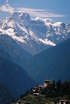 Gasa Dzong Monastery at the shadow of the Himalayas in northern Bhutan