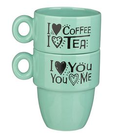 Look at this Grasslands Road 'I Love Coffee' Stacked Mug - Set of Two on today! I Love Coffee, My Coffee, Coffee Cups, Tea Cups, New Kitchen Gadgets, Kitchen Items, Kitchen Decor, Perfect Cup, My Tea