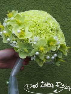 Lime Green Carnations + Green Hellebores Wedding Bouquet