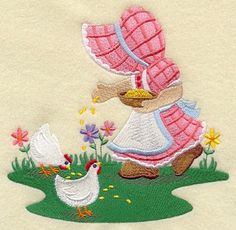 Sunbonnet Sue Feeding Chickens Machine Embroidered Quilt Block Large